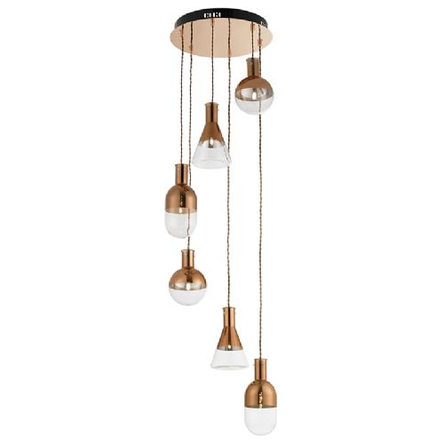 6 LIGHT SPIRAL FITTING IN COPPER + CLEAR & COPPER GLASS BXGIAMATTI-6CO-17 (Double Insulated)